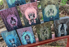 cosmic witch mini alien paintings