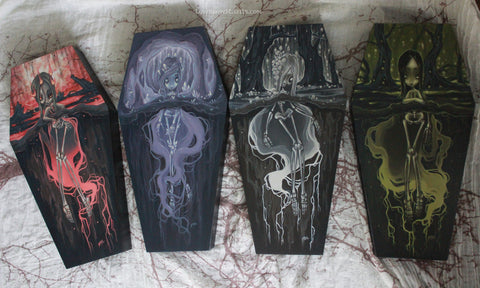 coffin painting skeleton girls