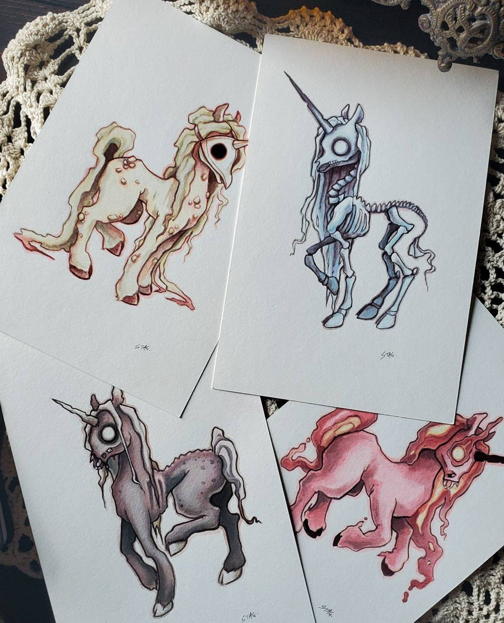 Apocalypse Unicorns ORIGINAL paintings -Lowbrow misfits White Stag Art