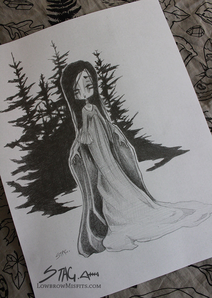 Lady in a forest Concept Sketch -Lowbrow misfits White Stag Art