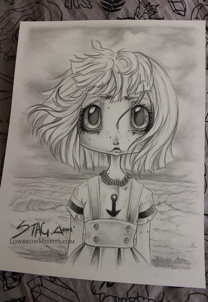 Sailor girl original sketch -Lowbrow misfits White Stag Art