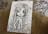 I'm Full of Leaves- Original ink drawing ACEO -Lowbrow misfits White Stag Art