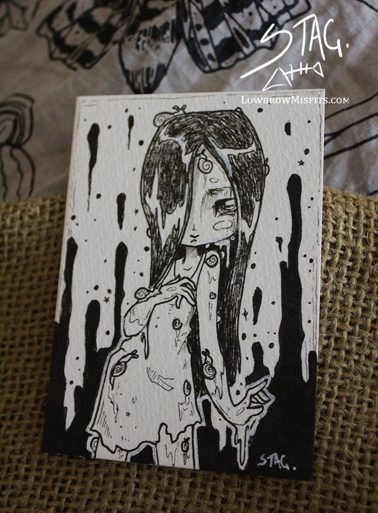 Slime- Original snail girl ink drawing ACEO -Lowbrow misfits White Stag Art