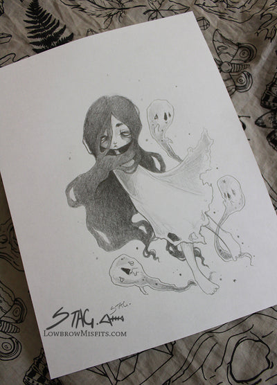 Original Ghost Concept Sketch -Lowbrow misfits White Stag Art