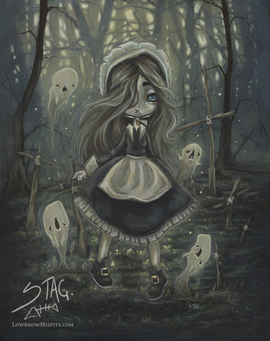 Among the Sticks- Gothic Ghost Print -Lowbrow misfits White Stag Art