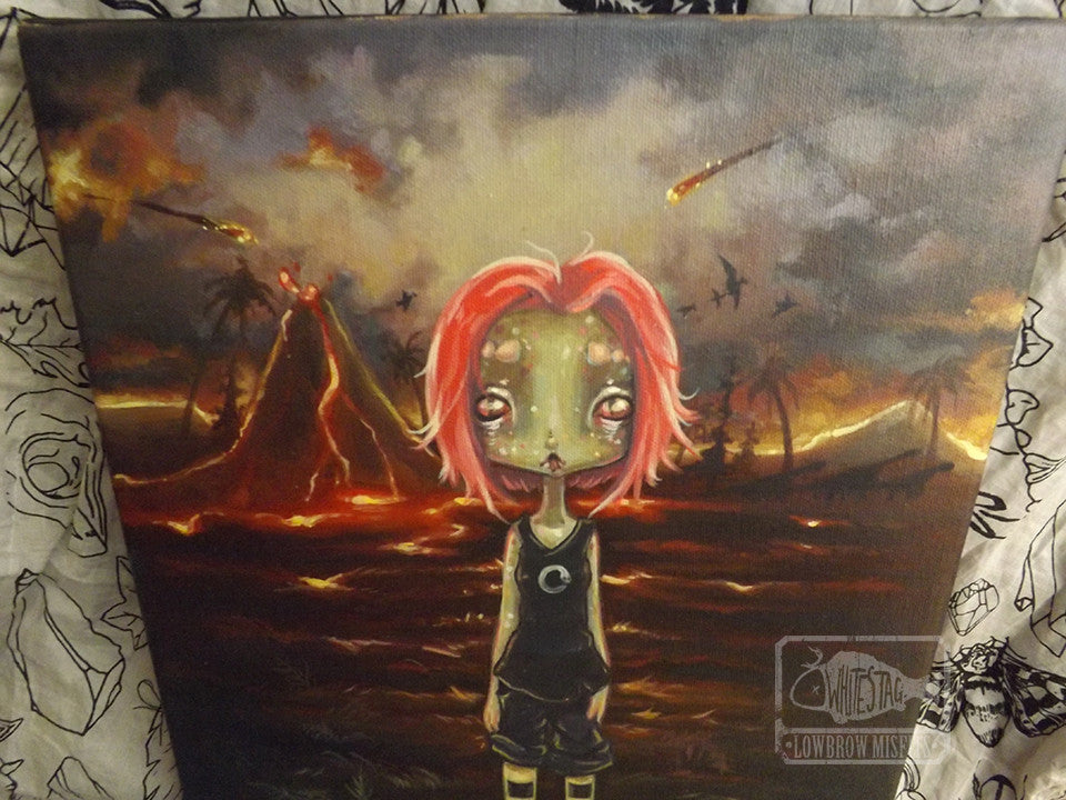 On planet Lemuria- Original lizard girl Alien Painting -Lowbrow misfits White Stag Art