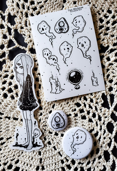 The Medium Sticker and pin set -Lowbrow misfits White Stag Art