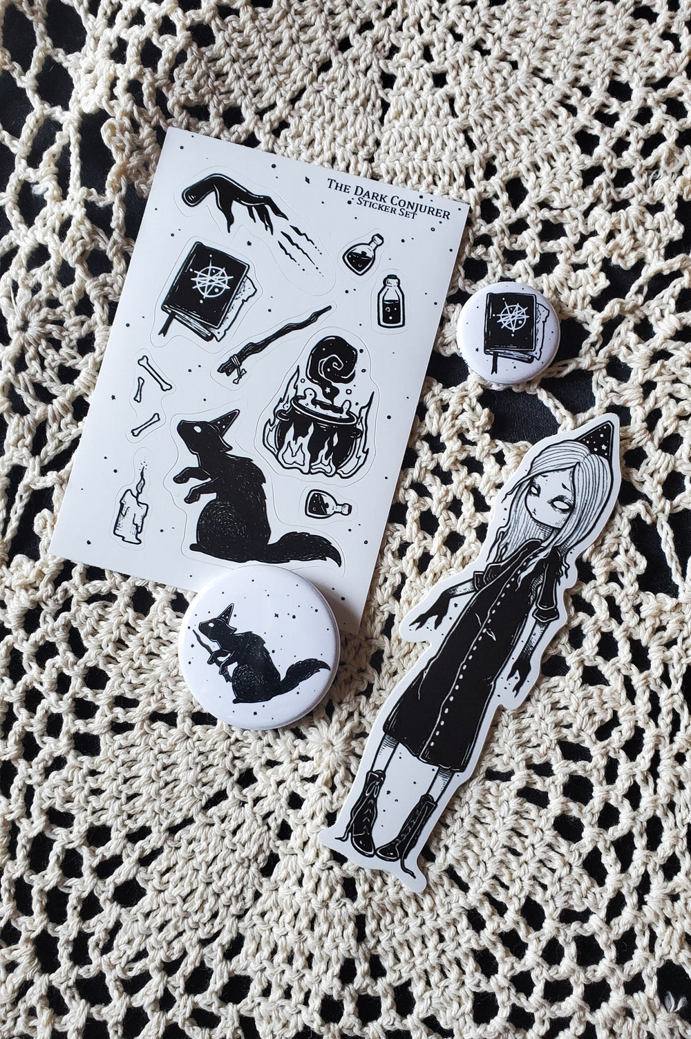 The Dark Conjurer Sticker and pin set -Lowbrow misfits White Stag Art