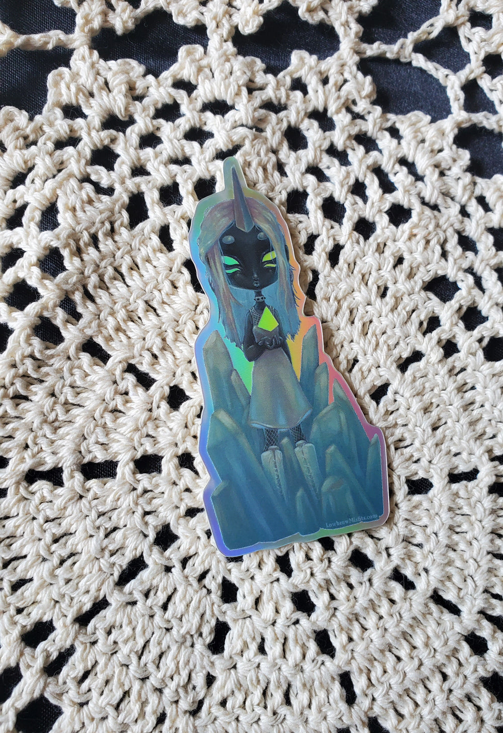 Cosmic Prism Holographic Sticker -Lowbrow misfits White Stag Art