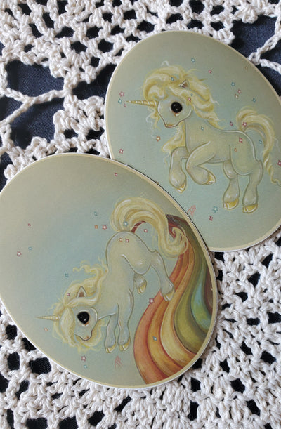 Rainbow Unicorn Sticker Set -Lowbrow misfits White Stag Art