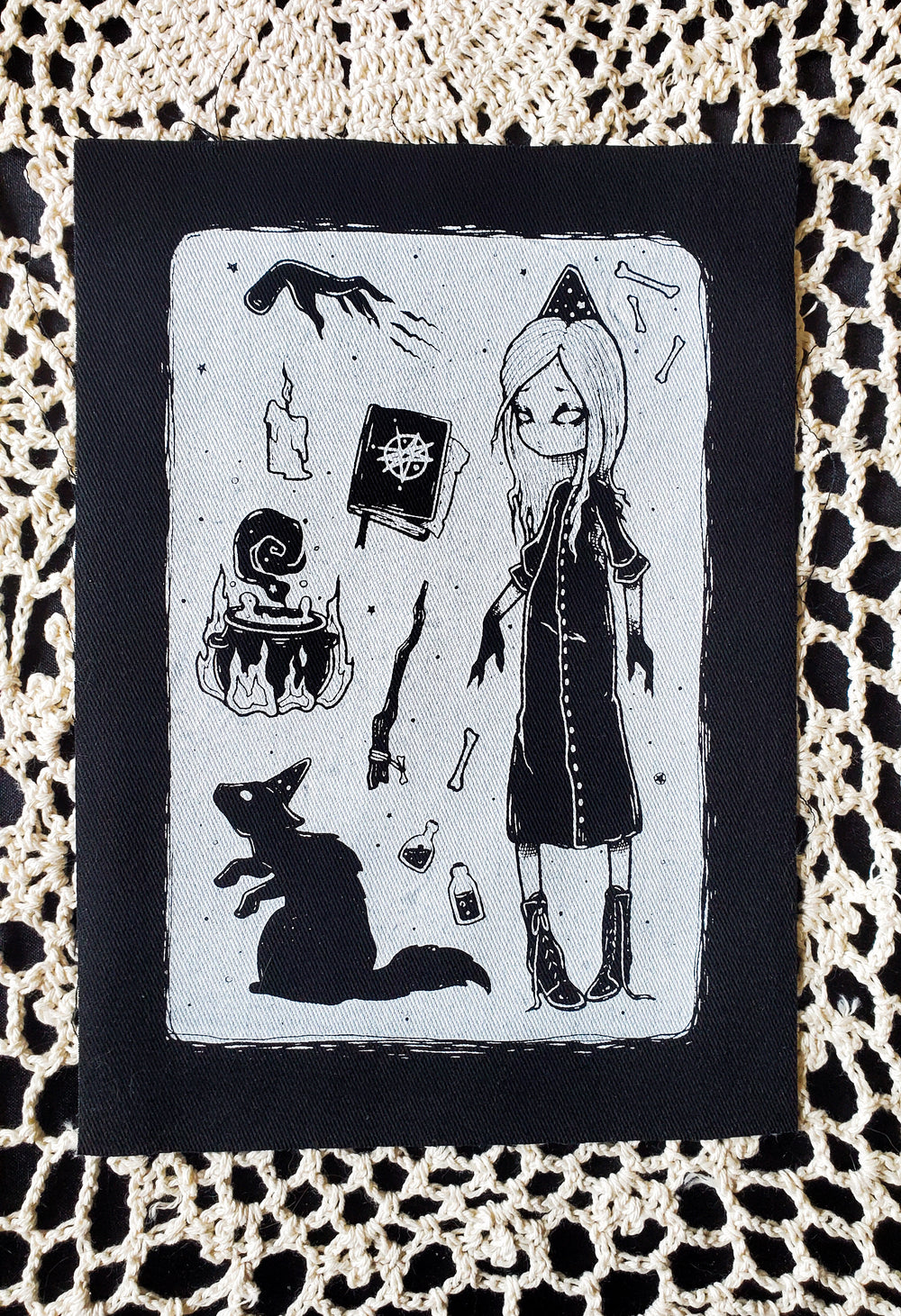 Dark Conjurer Fabric patch -Lowbrow misfits White Stag Art