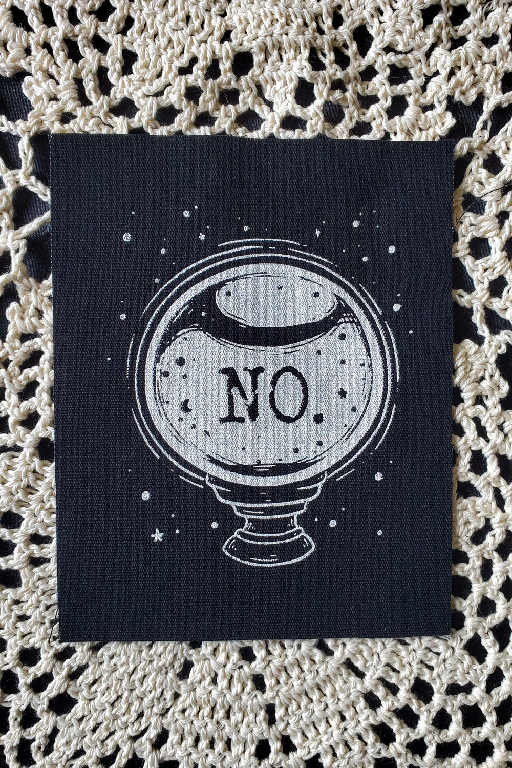 No. Crystal Ball Fabric Patch -Lowbrow misfits White Stag Art