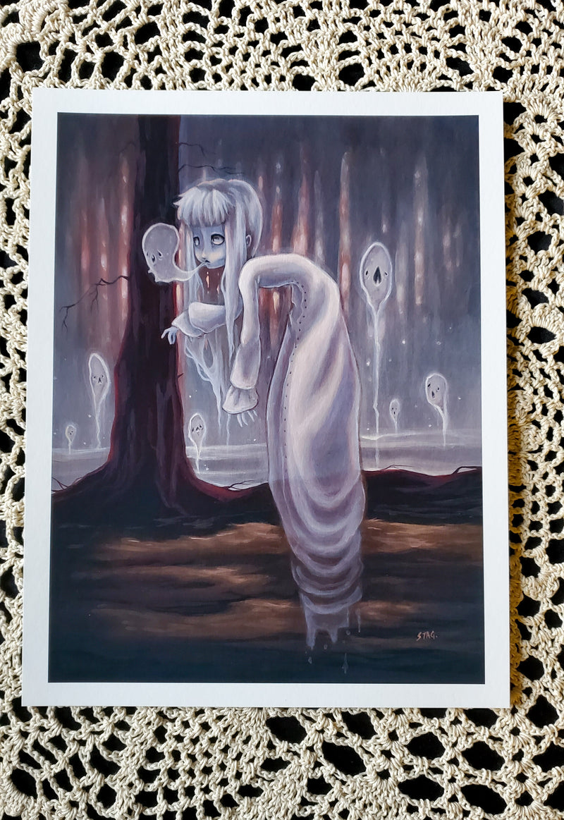 The Haunter lowbrow gothic ghost print -Lowbrow misfits White Stag Art