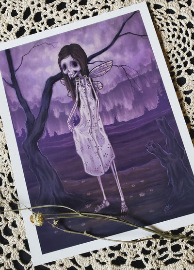 Daisy Bones lowbrow skeleton fairy print -Lowbrow misfits White Stag Art