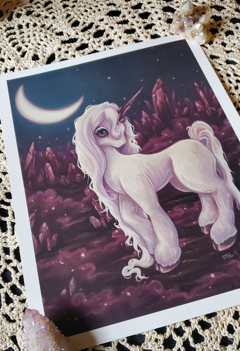 Crystals - Magical Unicorn print -Lowbrow misfits White Stag Art