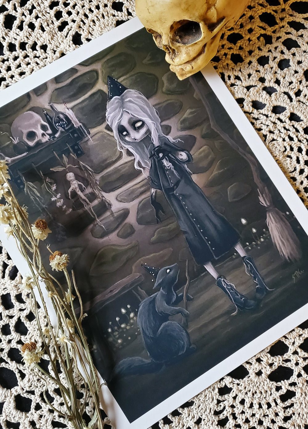 The Dark Conjurer lowbrow witch print -Lowbrow misfits White Stag Art