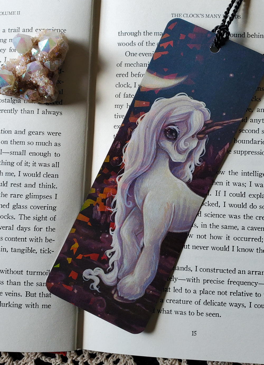 Crystals Holographic Unicorn Bookmark -Lowbrow misfits White Stag Art