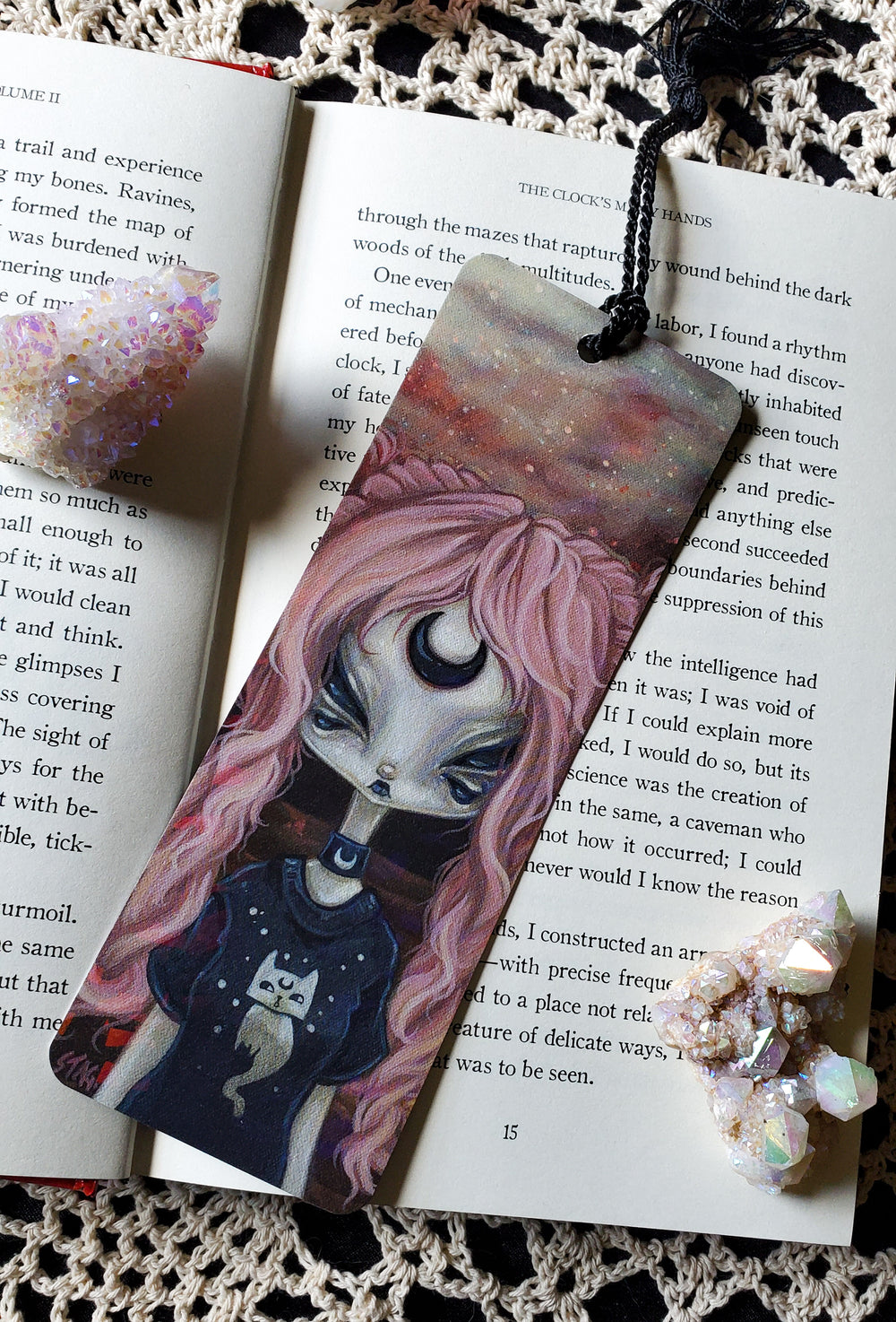 Space Kitten Holographic Bookmark -Lowbrow misfits White Stag Art