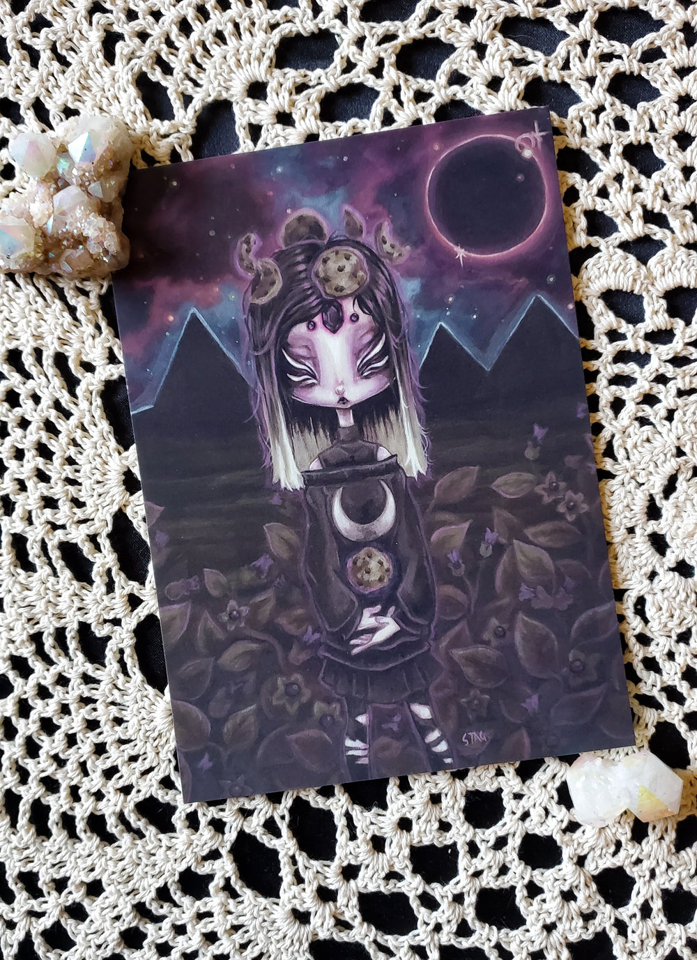 Cosmic Witch art prints -Lowbrow misfits White Stag Art