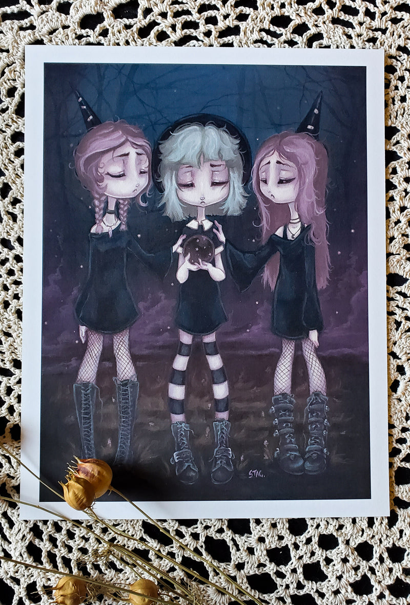 The Sisters - Gothic Witch scrying Print -Lowbrow misfits White Stag Art