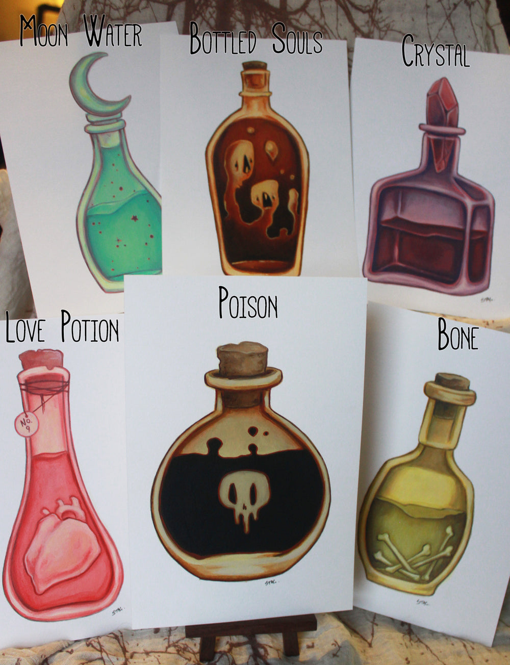 Potion Bottle ORIGINAL paintings -Lowbrow misfits White Stag Art