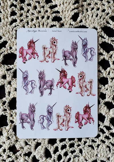 Apocalypse zombie unicorn STICKER sheet -Lowbrow misfits White Stag Art