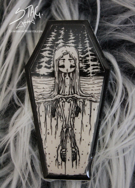 Skeleton Girl Coffin Pin