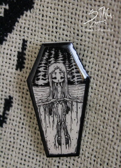 Skeleton Girl Coffin Pin -Lowbrow misfits White Stag Art