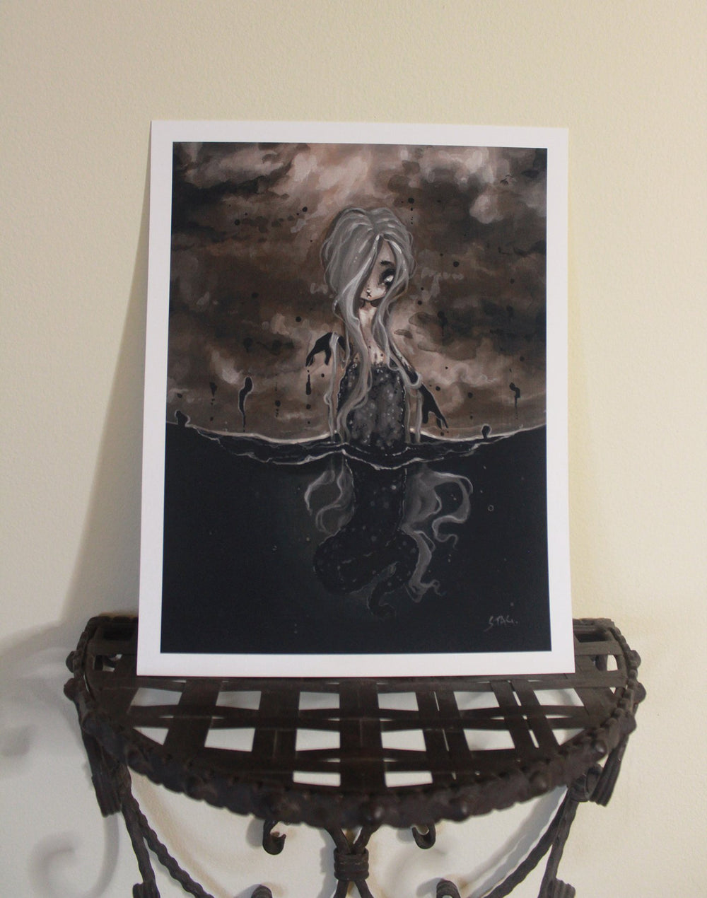 Black Water lowbrow gothic mermaid print -Lowbrow misfits White Stag Art