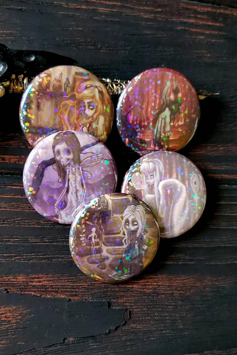 Creepers and Haunts HOLO Pin Button set