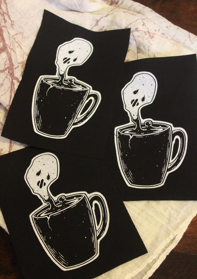 Coffee Ghost Fabric patch -Lowbrow misfits White Stag Art