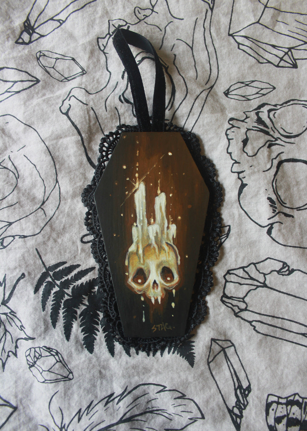 Mini Coffin Skull painting -Lowbrow misfits White Stag Art