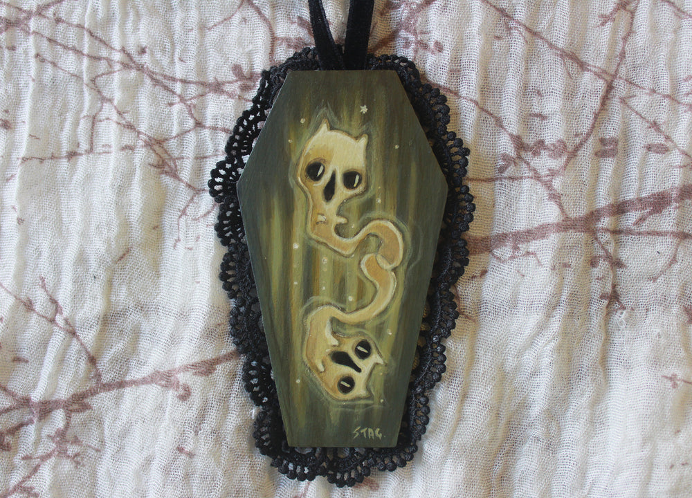 Mini Coffin Cat Ghost -Lowbrow misfits White Stag Art