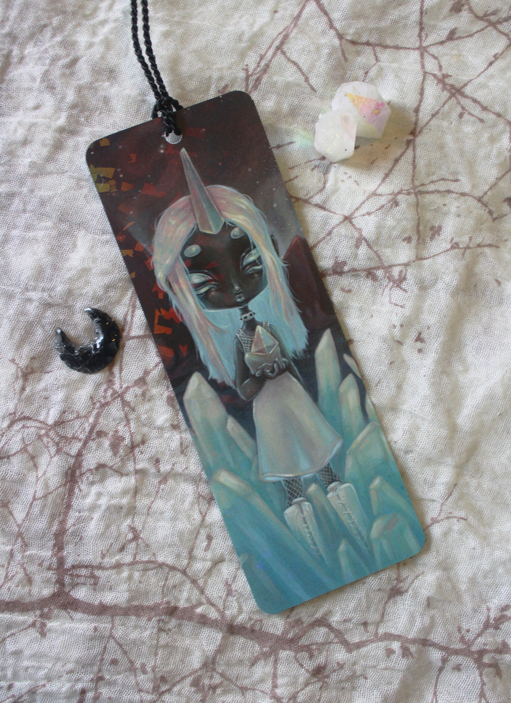 Cosmic Prism Holographic Bookmark -Lowbrow misfits White Stag Art
