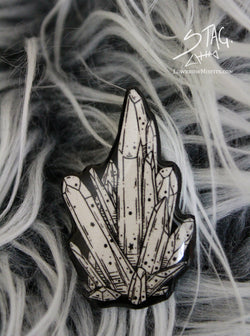 Crystal Cluster Pin -Lowbrow misfits White Stag Art