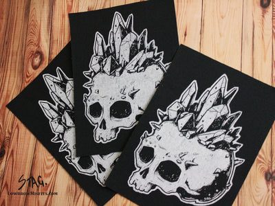 Crystal Skull Fabric Patch -Lowbrow misfits White Stag Art