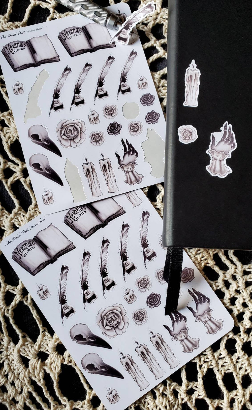 Dark Poet gothic STICKER sheet -Lowbrow misfits White Stag Art