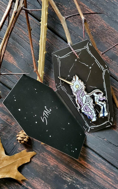 Skeleton Unicorn Pin