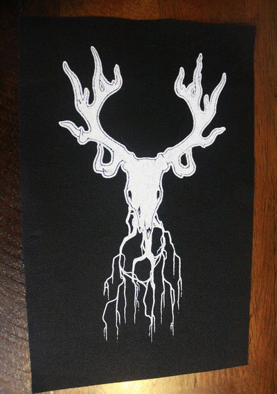 Deer skull Fabric patch -Lowbrow misfits White Stag Art