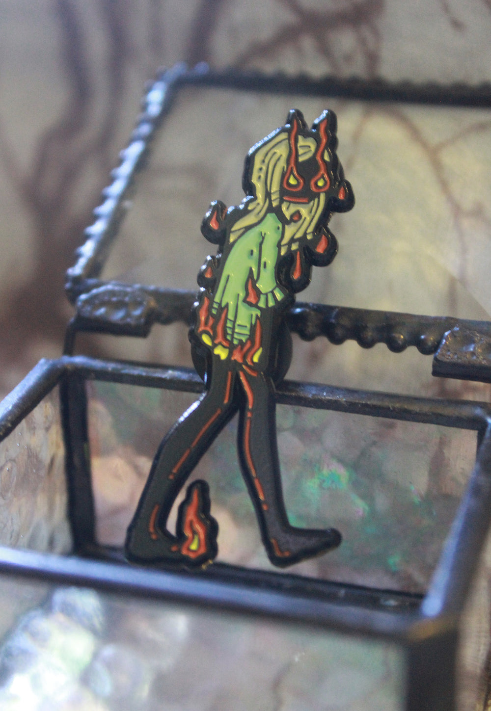 The Ember Witch Enamel pin -Lowbrow misfits White Stag Art