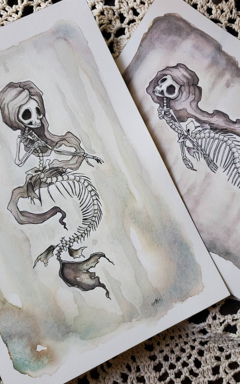 Fishbones ORIGINAL paintings - Skeleton Mermaids