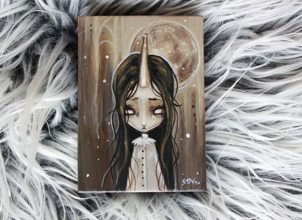 Frosted Moon 1 Original mini painting -Lowbrow misfits White Stag Art