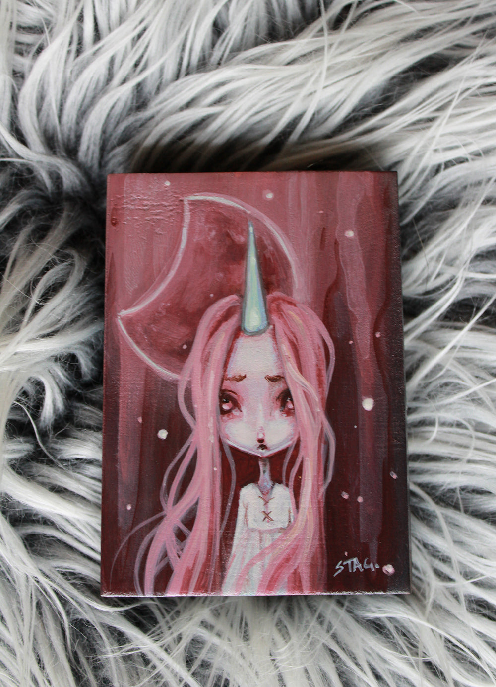 Frosted Moon 2 Original mini painting -Lowbrow misfits White Stag Art