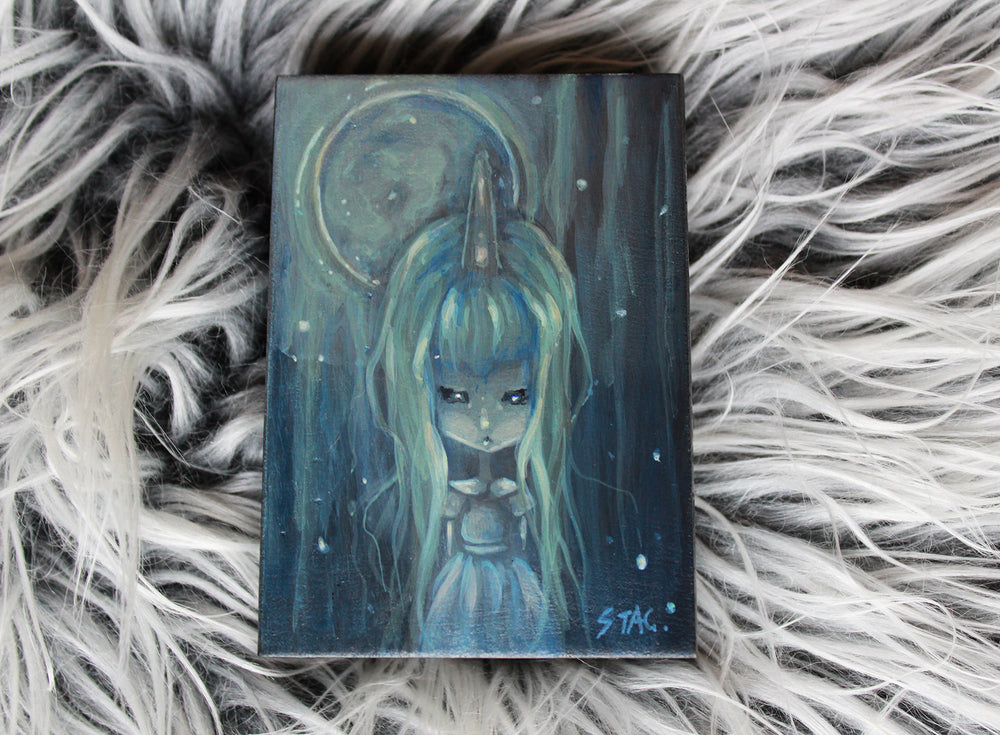 Frosted Moon 3 Original mini painting -Lowbrow misfits White Stag Art