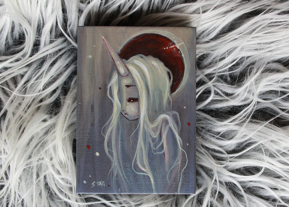 Frosted Moon 5 Original mini painting -Lowbrow misfits White Stag Art