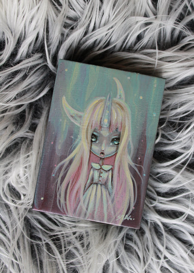 Frosted Moon 6 Original mini painting -Lowbrow misfits White Stag Art