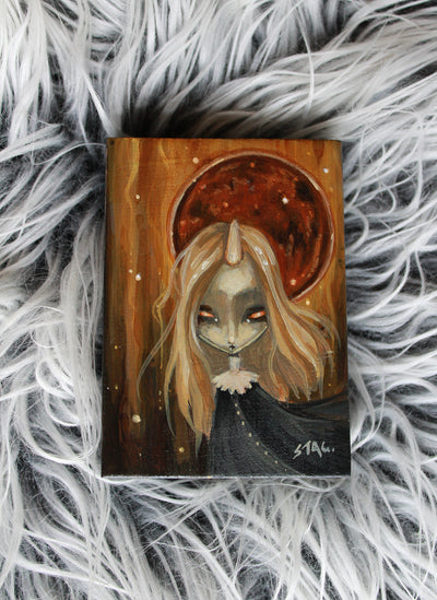Frosted Moon 8 Original mini painting -Lowbrow misfits White Stag Art