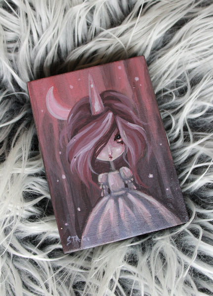 Frosted Moon 9 Original mini painting -Lowbrow misfits White Stag Art