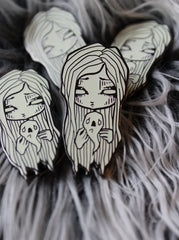 ghost girl enamel pin gothic art by white stag