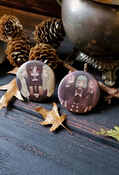Witch ghost Gothic Pin Button set